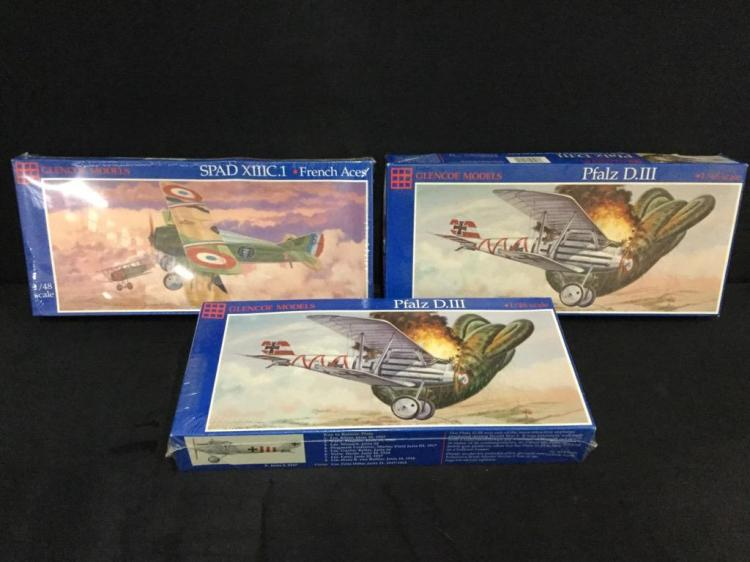3 Glencoe Models 1:48 model airplane kits