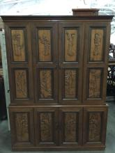 Japanese Style Panel Relief Dresser Cabinet With Traditional Carved Scenes