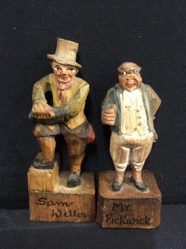 Collection of antique figurines hand carved and painted i
