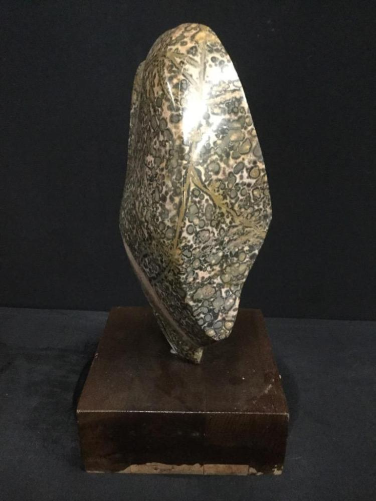 Carved Stone Glass : Signed hand blown glass vase carved wood and int