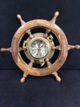 Ships wheel quartz brass and battery operated wall clock works