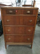 Vintage 1940's Fashion-Flow wood dresser w/ ornate brass drawer pulls - see pics