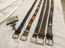 5 vintage mens leather belts incl. Orvis, buffalo nickel belt, etc see pics - various sizes but all