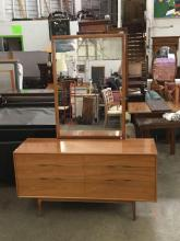 Lovely mid century teak & brass trim long dresser with mirror - matches lot 329
