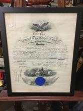 Framed commission certificate w/ Navy blue seal by Woodrow Wilson, president of the USA for Harold L