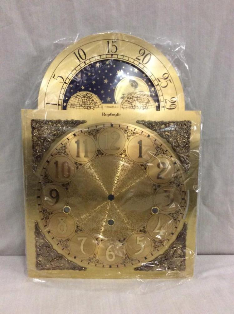 Moon phase triple chime clock movement/face