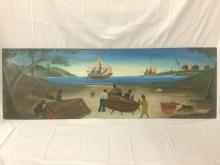 Early Original oil on wood by by Bourmond Byron (1920-2004) circa 50's - as is see desc