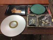 Selection of mid century trays - incl zodiac aluminum platter and asian motifs