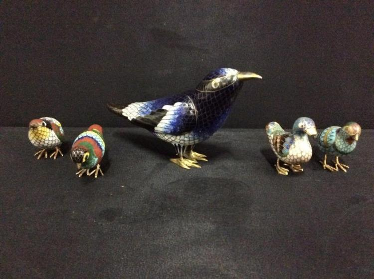 Selection of metal cloisonne bird figurines