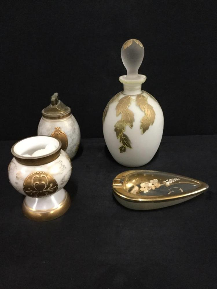 Selection of Art Nouveau style perfume bottle, table lighter and more