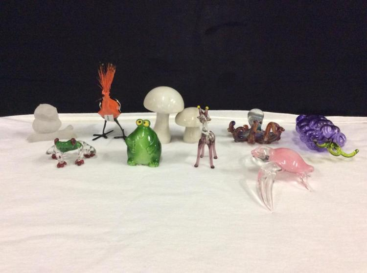Selection of art glass animals and a pair or marble mushrooms