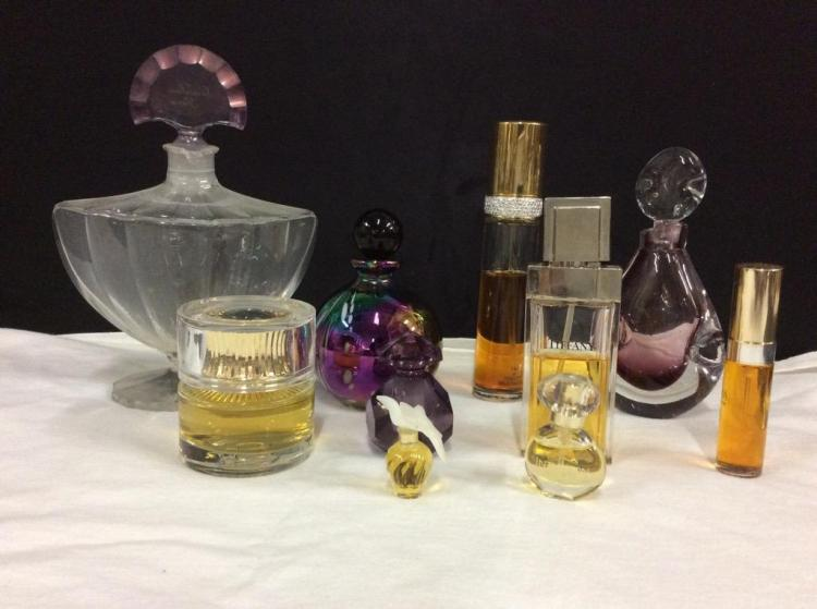 Set of art glass perfume bottles and vintage designer perfume - fair cond as is see pics