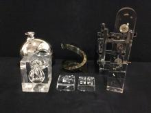 Nice set of modern statement pieces - acrylic clock deconstruction, etc