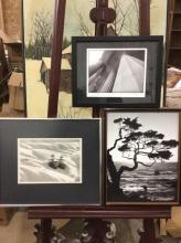 Set of three lovely photos - 2 custom framed and signed by artist