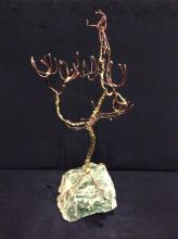 large copper and brass Tree w/ stone base