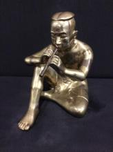Vintage Brass Asian flue player statue