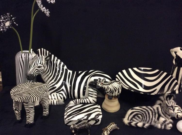 Large collection of Zebra themed decor , lamps, etc