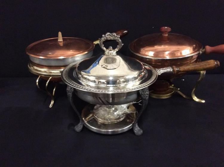 Set of 3 vintage warming dishes/pans - 2 60's copper/brass and silverplate