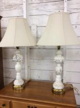 Set of two vintage marble/alabaster fruit motif lamps