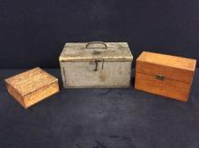 Set of three vintage wood boxes - recipe box, hankerchief box, etc