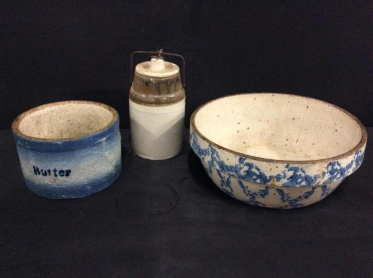 Antique butter crock, spongeware crockery and lidded crockery mason jar