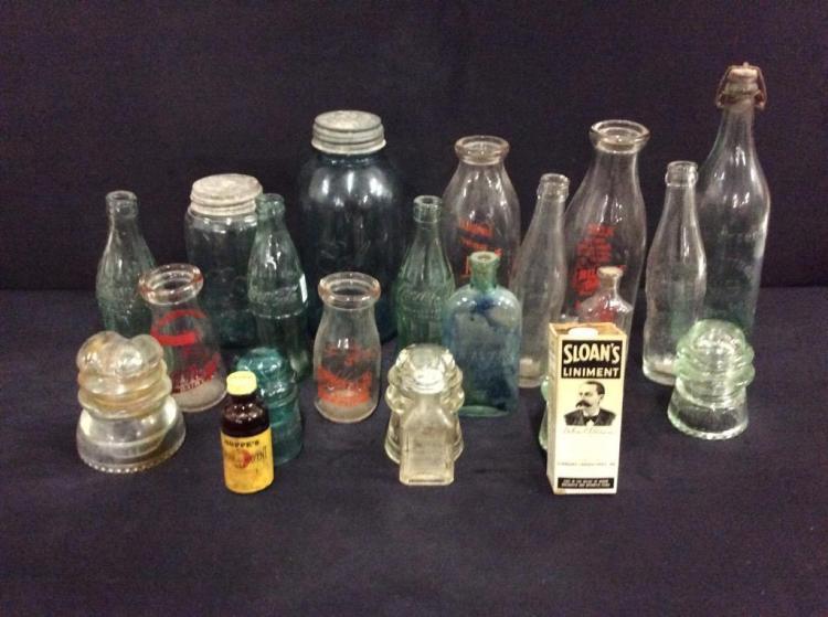 Selection of vintage bottles, jars ,advertising, medical/general store bottles