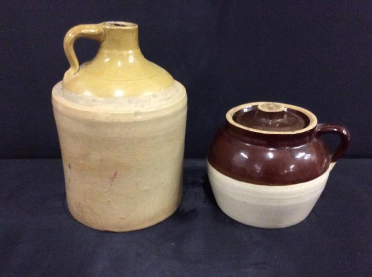 Set of two crocks - bean pot and growler - both two tone