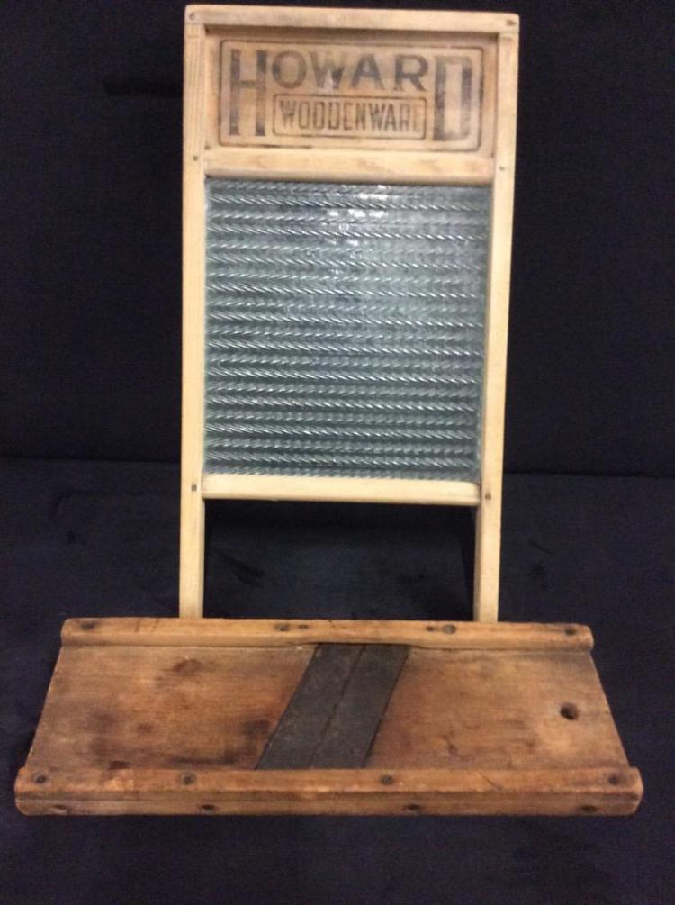 Primitive washboard and kraut cutter/mandolin