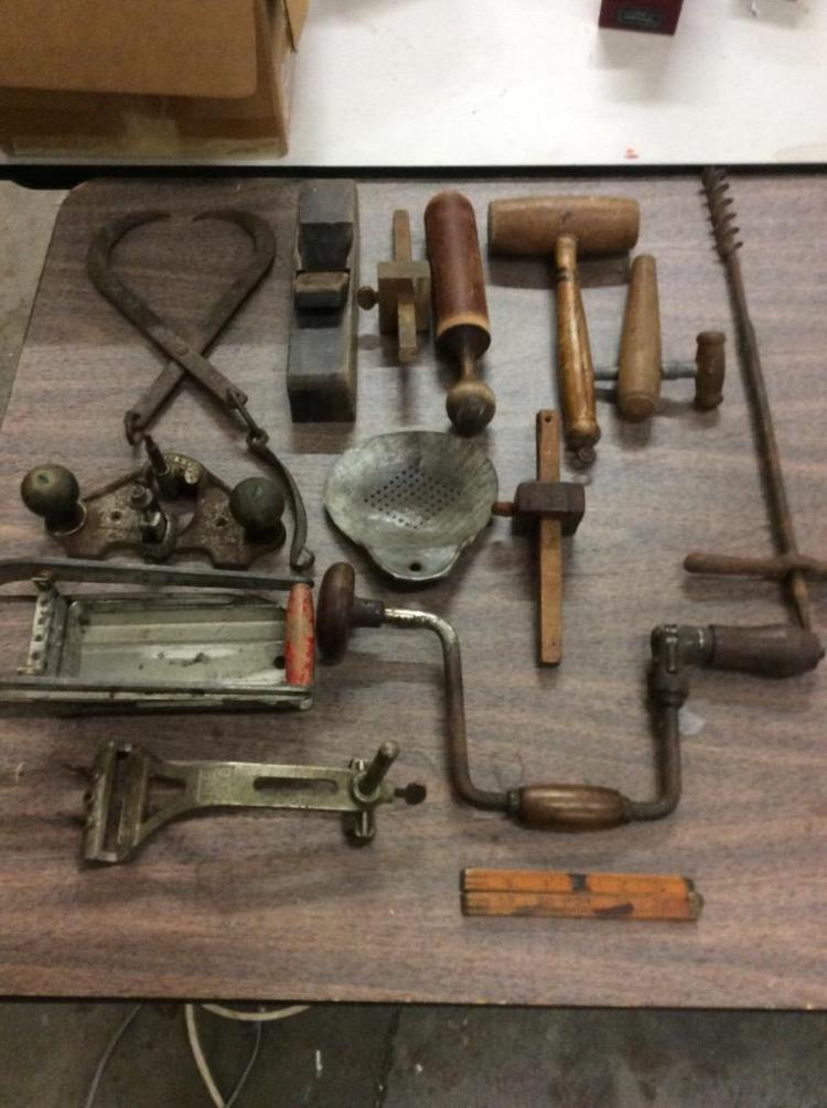 large set of antique tools incl. hand drills, hammer, planer etc