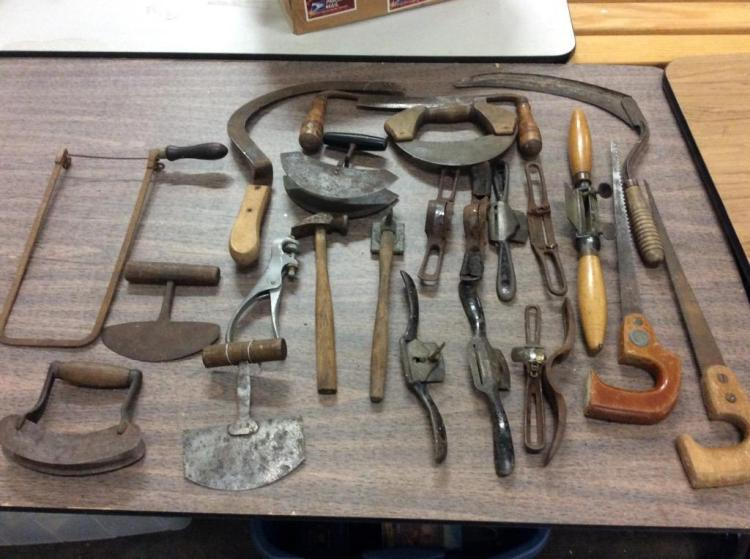 large set of antique tools incl - saws and various cutting tools