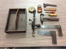 selection of antique tools and tool drawer - incl. auger, hammer, etc
