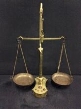 Antique brass weight scale w/ original weights - good cond