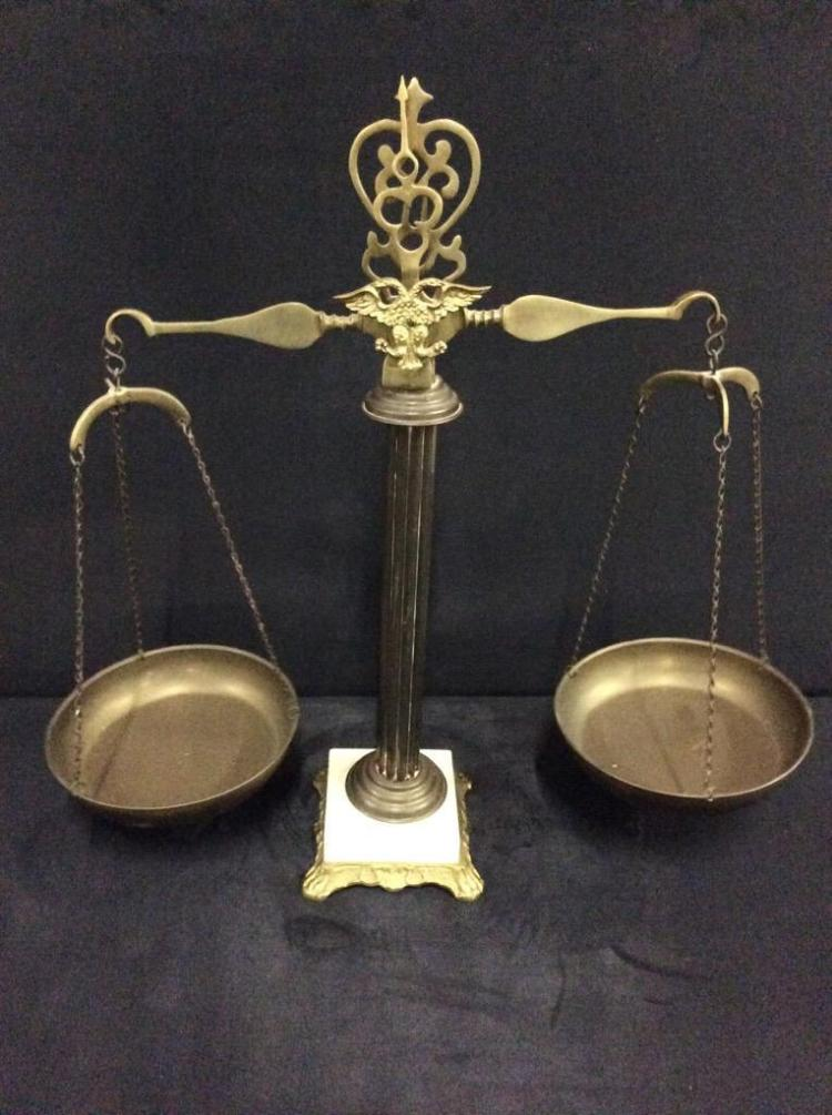 vintage brass and marble base weight scale w/ eagle detail