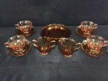 Lovely Carnival Marigold glass teacup and plate set