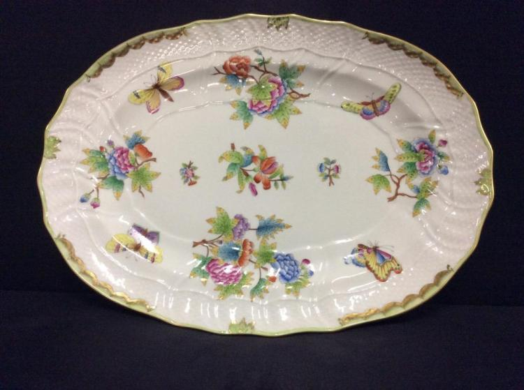 handpained Herend Hungarian fine porcelain platter - wow!