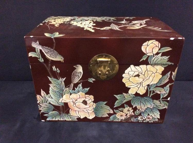 lovely asian influenced small chest with bird and flower motif