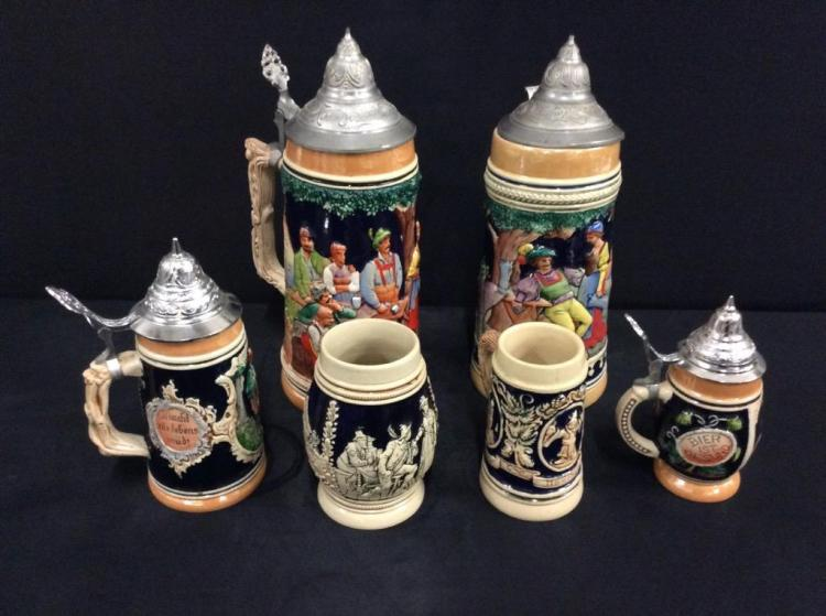 Lot of 6 well done German Steains in various sizes - one lid loose on large stein see pics