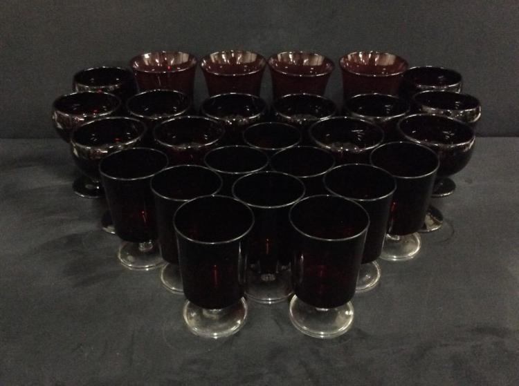 Large selection of vintage ruby red glasses - 24 are matching set
