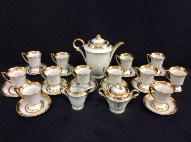 Huge Vintage Deco French Limoges Porcelain hand painted Tea Set