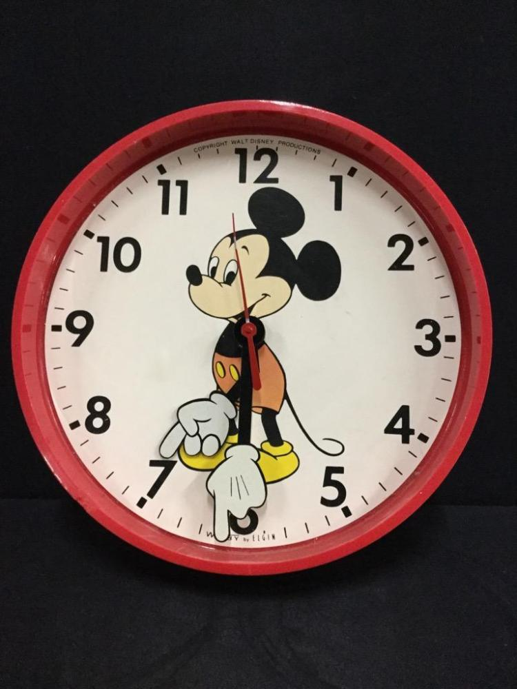 Rare Welby by elgin Mickey Mouse wall clock - as is needs battery