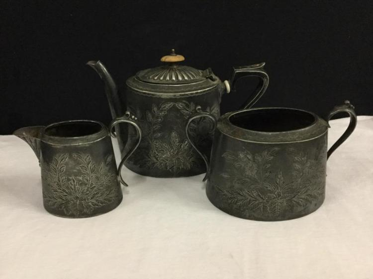 Late 1800's hand chased ornate heavy silverplate tea set