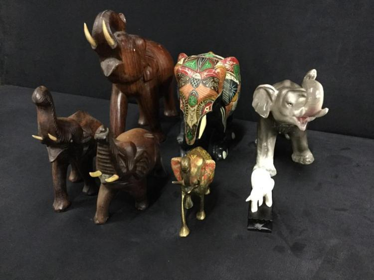 Selection of various elephant figures - wood, porcelain, marble etc