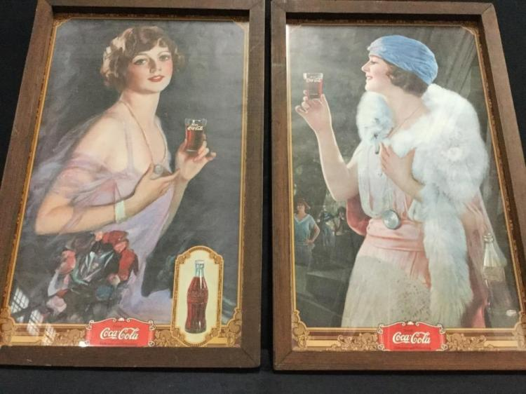Set of two vintage Coca Cola Prints in frame