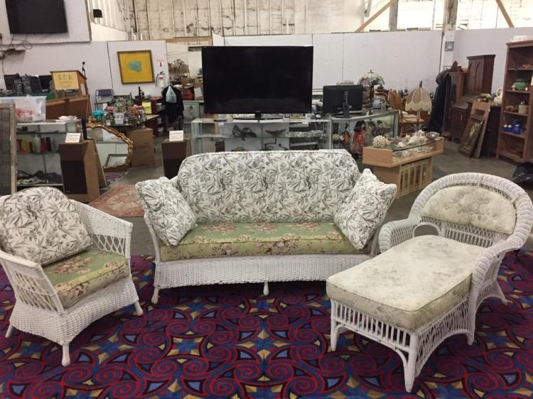 Antique Heywood Wakefield? Wicker Settee,Chaise and Chair Set
