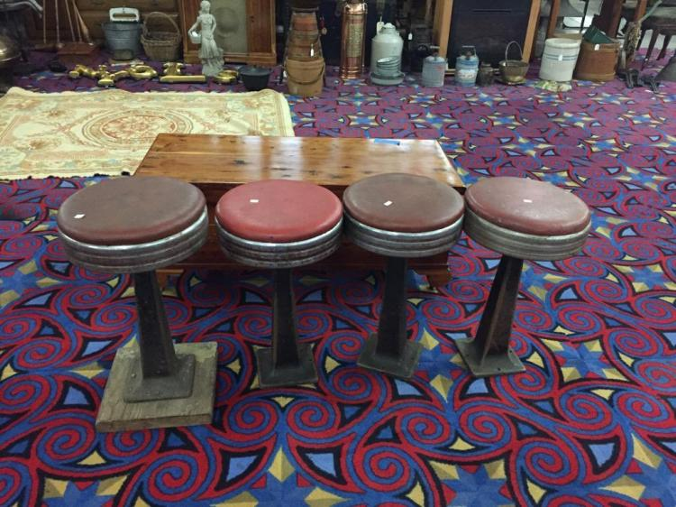 Set of four retro vinyl, chrome and iron stools from portland iron works