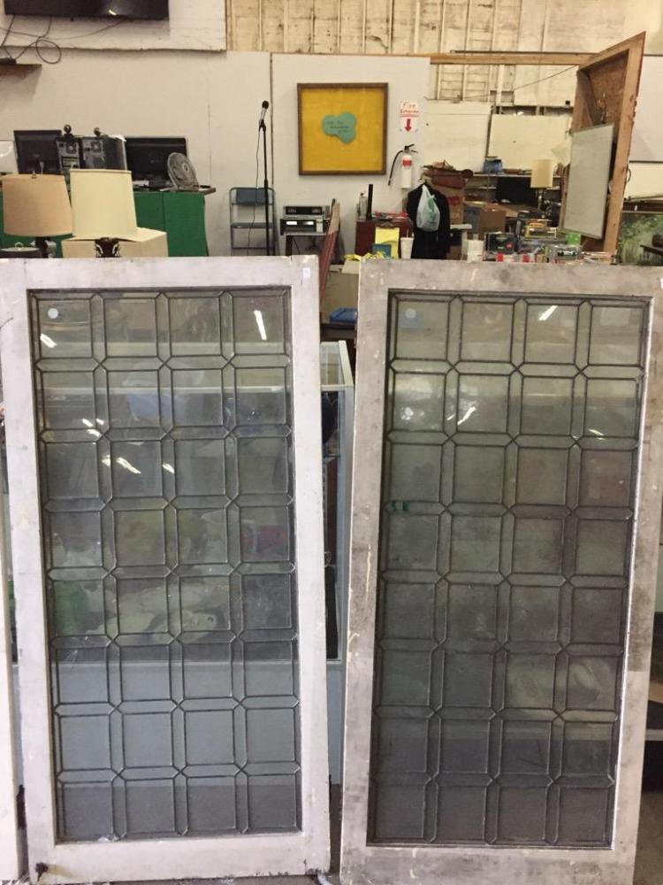Pair of antiqued leaded Glass windows in fair cond