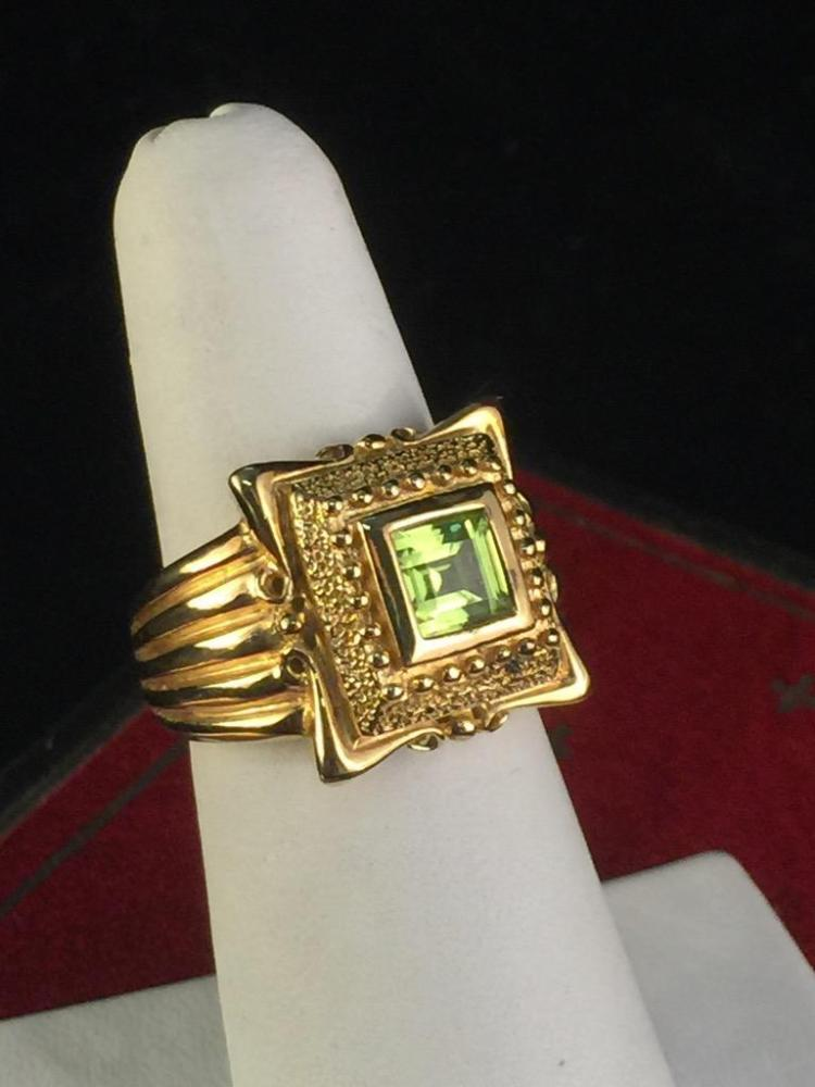 Cute Gold Finish Sterling Silver cocktail Ring w/ peridot colored glass stone