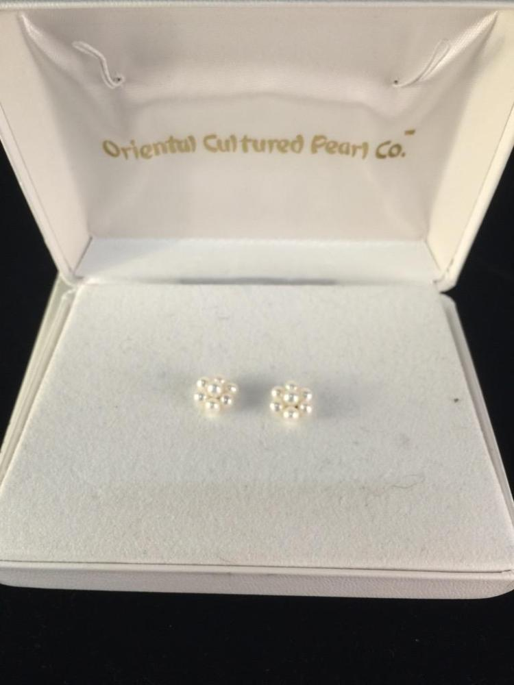 Set of cultured pearl and 14k yellow gold stud earrings in box