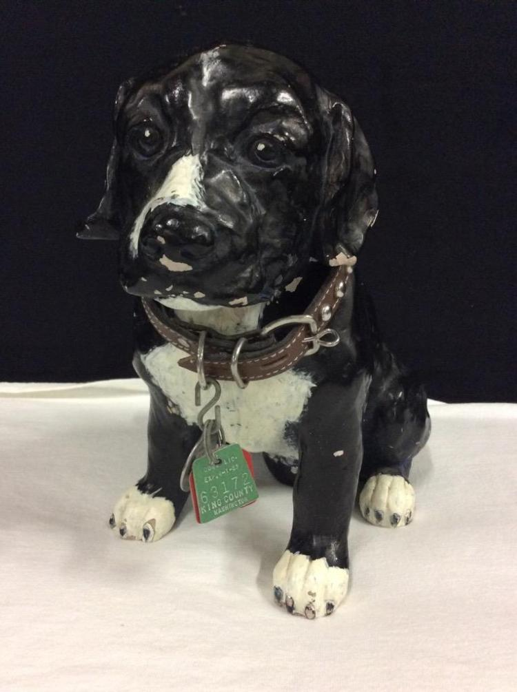 Vintage hand painted heavy dog statue with vintage king county dog tags - cute piece
