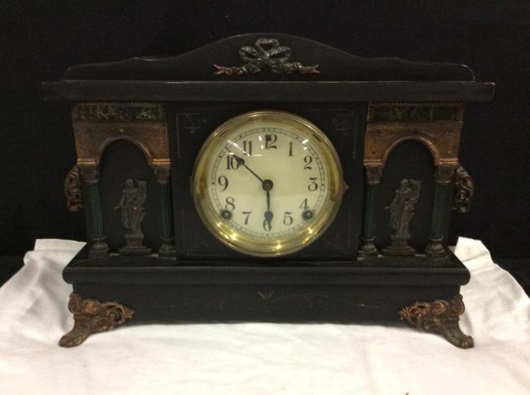 Antique Eight Day Half-Hour Strike Sessions mantle clock - very ornate/good cond needs servicing